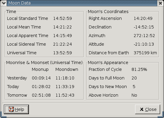 Gnome Lunar Clock moon applet