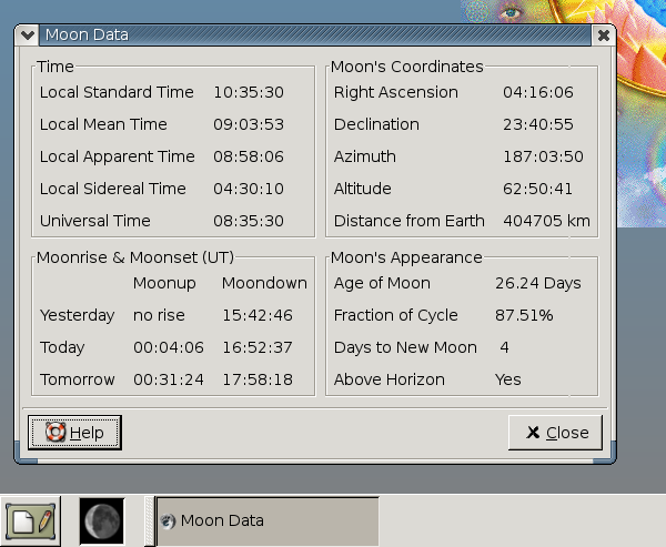 moon data window